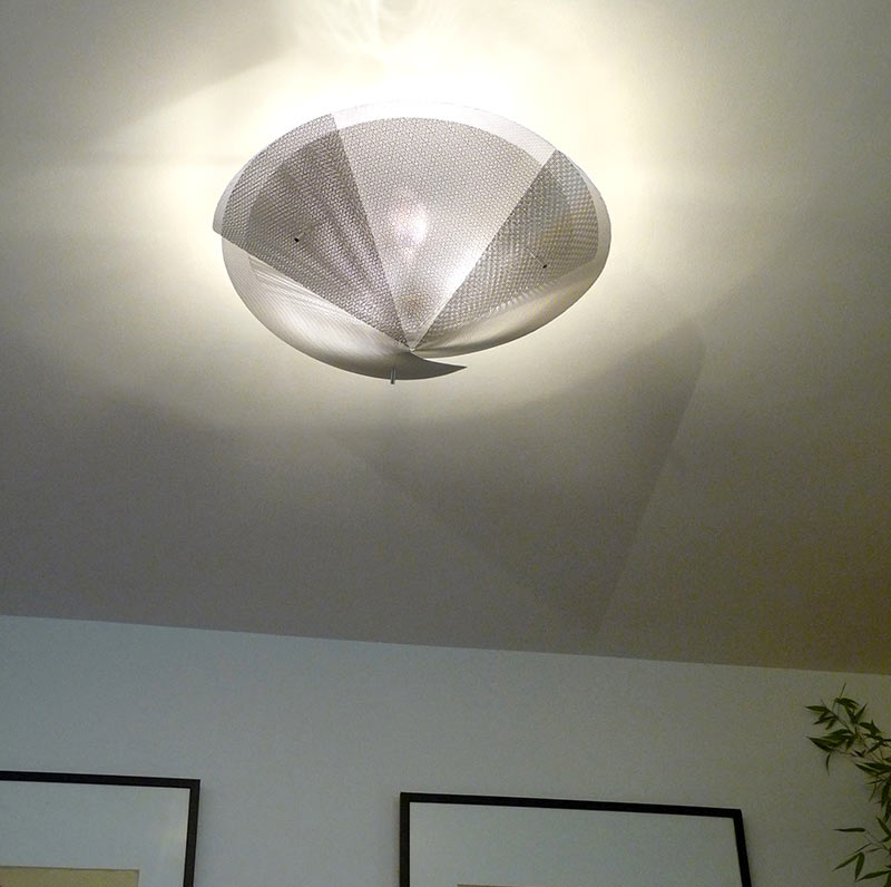 Ceiling mounted conical metal mesh light